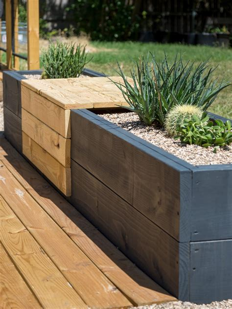 outdoor planter bench make a modern planter and bench combo hgtv