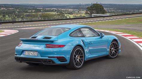miami blue porsche turbo s 2016 porsche 911 turbo s coupe color miami blue rear