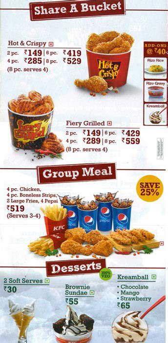 Buy Kfc Gift Card Online - kfc menu with price list upadated august 2014