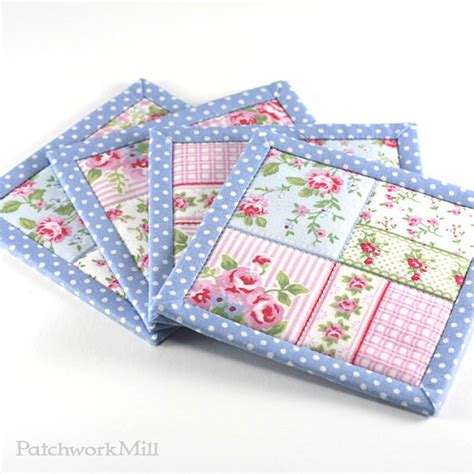 fabric coasters blue shabby cottage chic roses 4 reversible