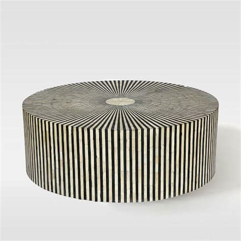 inlay coffee table stripe inlay silver and black coffee table