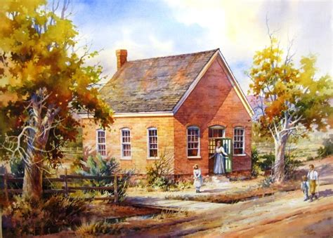 painting of house old schoolhouse at bloomington roland lee