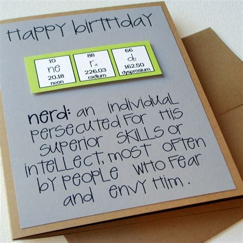 geeky card chemistry periodic table birthday card nerdilicious