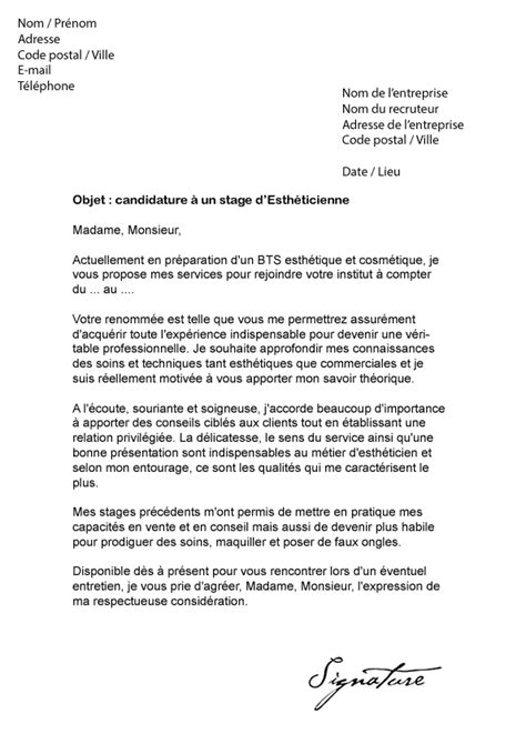 Lettre De Motivation Pour Stage En Banque Lettre De Motivation Stage Esth 233 Ticienne Mod 232 Le De Lettre