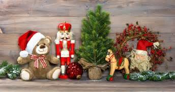 nostalgic christmas decoration with antique toys teddy