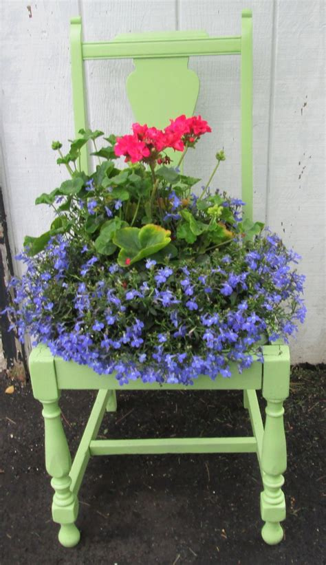 planters chair chair planter this apple green gardening