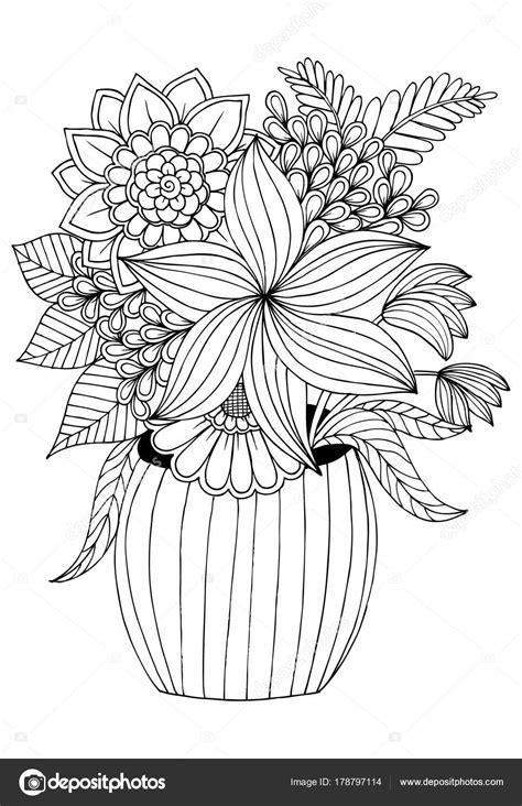 vaso con fiori da colorare disegno vaso fiori
