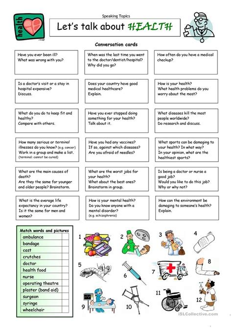 how we talk the inner workings of conversation books let s talk about health worksheet free esl printable