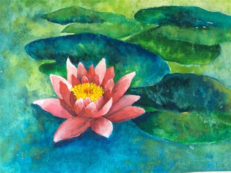watercolor water lily tutorial easy watercolor paintings for beginners step by step