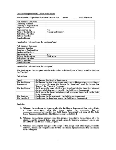 assignment of lease template deed of assignment of lease