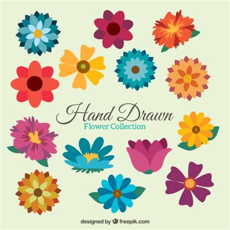 flower design images variety of colorful flowers in flat style vector free