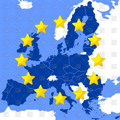 european union map map of the european union vector image vector artwork of