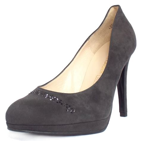 grey suede high heel shoes kaiser nikola high heel court shoes in