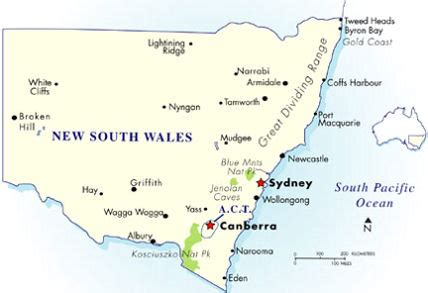 map of new south wales australia index of destinations nsw