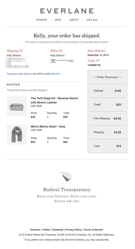 Design Tips For Shipping Confirmation Emails Email Design Workshop Shipping Confirmation Email Template