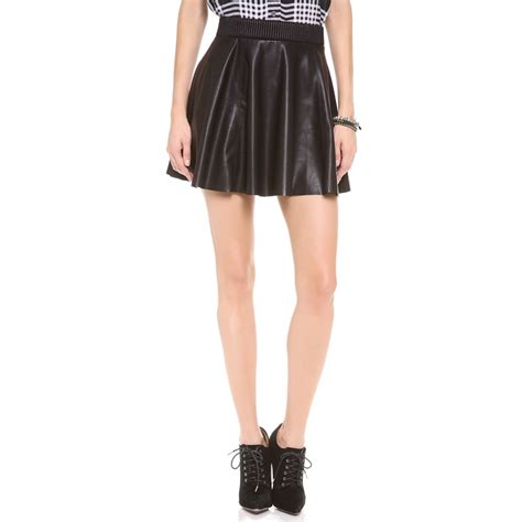 rank style blank denim vegan leather skirt