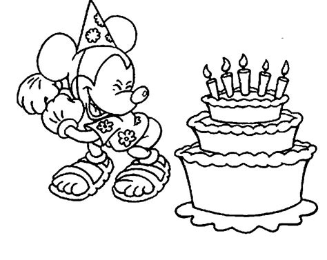 happy birthday coloring pages mickey mouse disney happy birthday coloring pages az coloring pages