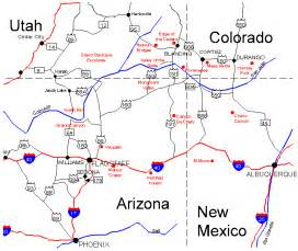 Four Corners States Map by Four Corners Journey Maps