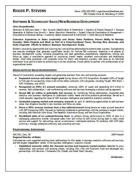 Resume Sles For Experienced Software Professionals Software Sales Resume Exle