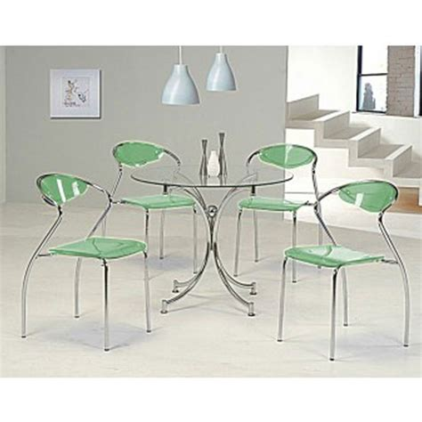 Green Dining Table And Chairs Dining Table In Clear Glass And 4 Green Dining Chair For 163 279 95 Go Furniture Co Uk