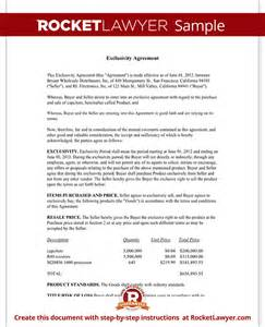 Exclusivity Letter Template exclusivity agreement contract template with sle