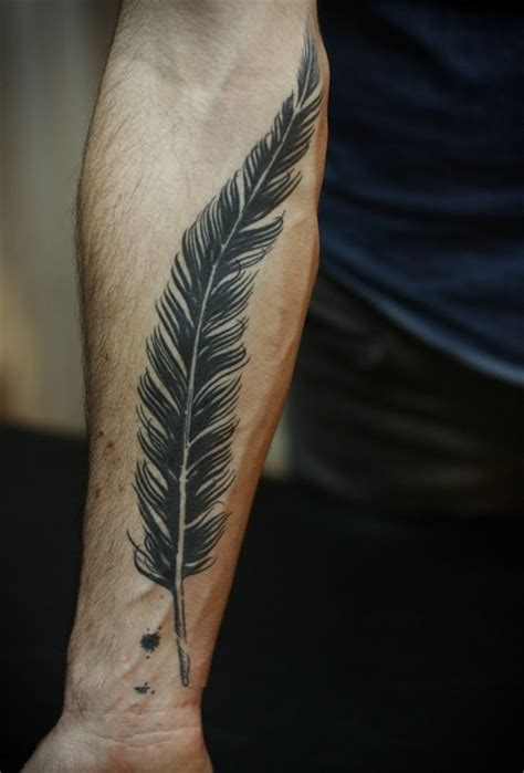Tattoo Feather On Arm | drops of jupiter tattoo tuesday