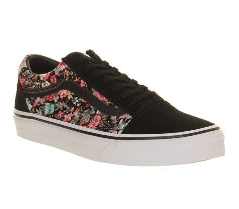 Vans Skool Flower mens vans skool multi floral black white trainers