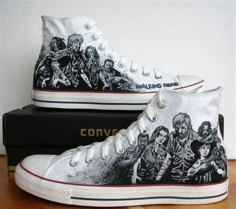 custom painted converse shoes the walking dead