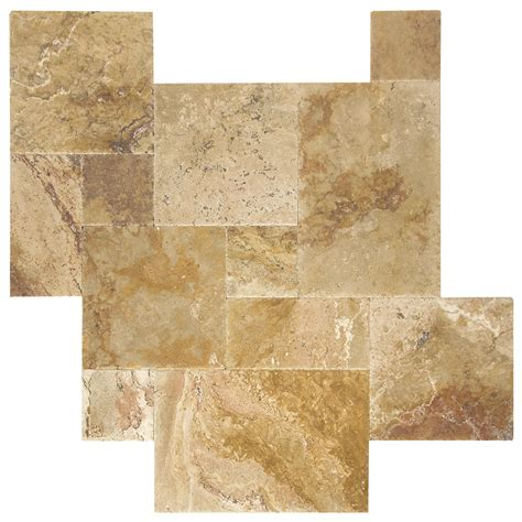 pattern tile sle antique blend brushed chiseled french pattern travertine