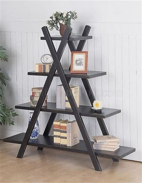 black weathered contemporary tiered x shape bookshelf