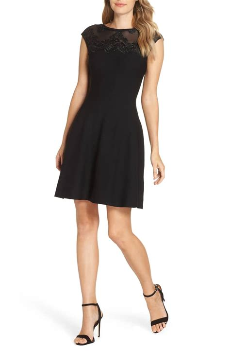 Sleeve Lace Trim A Line Dress eliza j lace trim a line cap sleeves sweater black dress