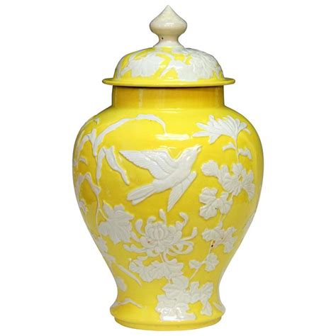 large antique japanese carved studio porcelain yellow