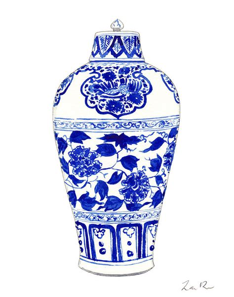 Blue And White Ginger Jars And Vases Blue And White Ginger Jar Chinoiserie Jar 1 Painting By