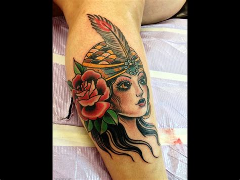 gypsy woman tattoo traditional design