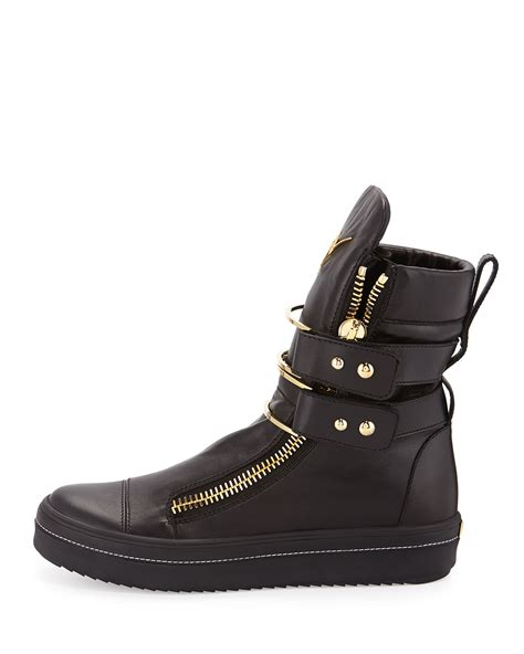 leather sneaker boots lyst giuseppe zanotti kurt leather high top buckled