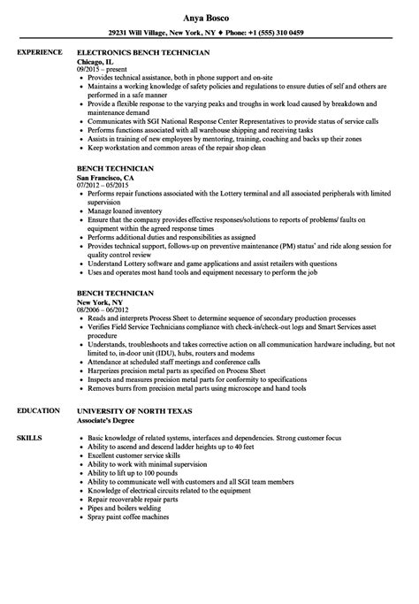 bench technician jobs wind turbine repair sle resume free action plan template word