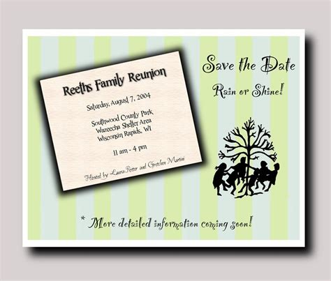 Family Reunion Save The Date Post Cards With Letter 24 Reunion Save The Date Templates