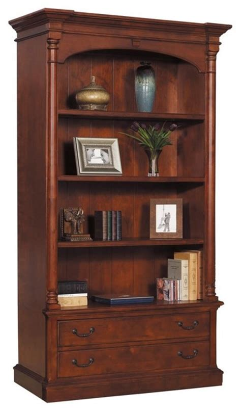hekman weathered cherry executive bookcase with options