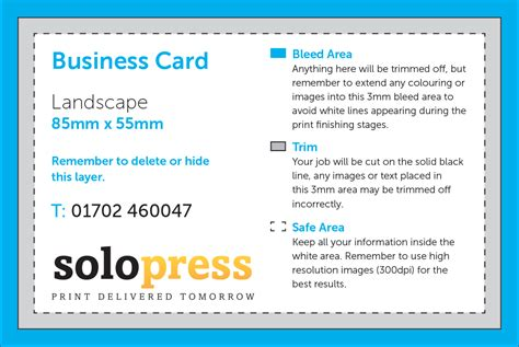 solopress business card template the print and