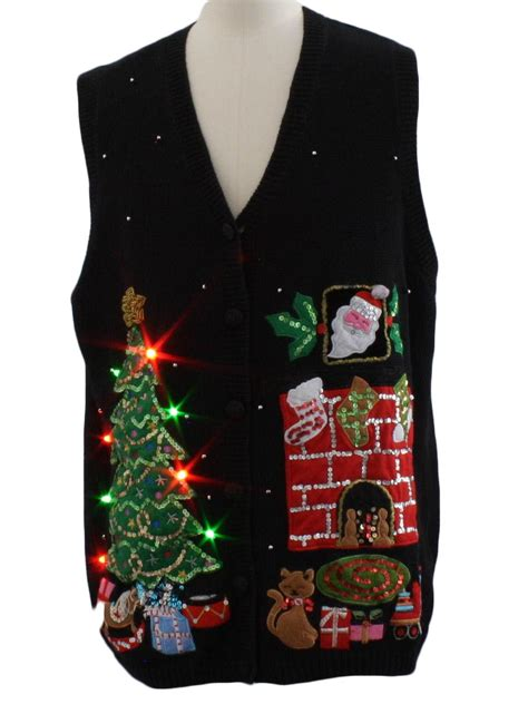 lightup ugly christmas sweater vest basic editions