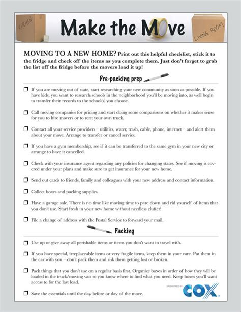 list of things to buy when moving into a new house printable moving checklist