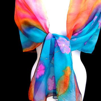 Kantong Plastik Wrap Cherry Blossom Wrp 04 Size 1010cm painted silk scarf floral multicolor from silkshop on etsy