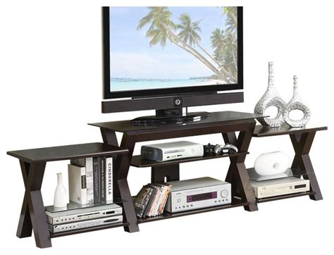 espresso x shaped legs support storage multi level tv
