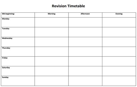 template revision timetable revision timetable templates brookvale groby learning cus