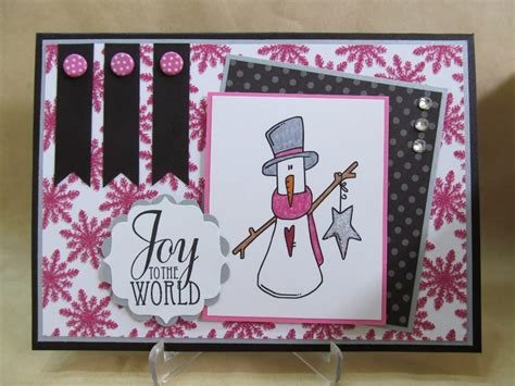 Pink Handmade Cards - savvy handmade cards pink snowflakes snowman card