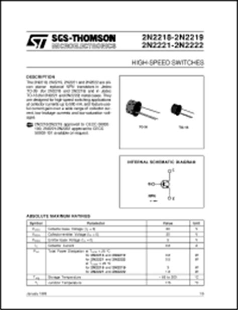 datasheet of transistor 2n2222 2n2222 datasheet high speed switches from sgs thomson microelectronics
