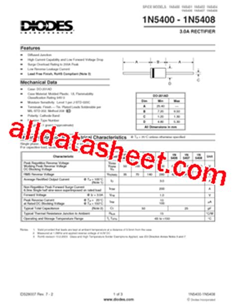 in5402 diode datasheet pdf 1n5408 t datasheet pdf diodes incorporated