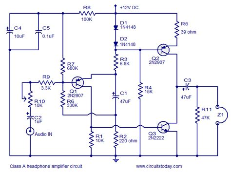 transistor headphone lifier schematic headphone lifier class a electronic circuit collection