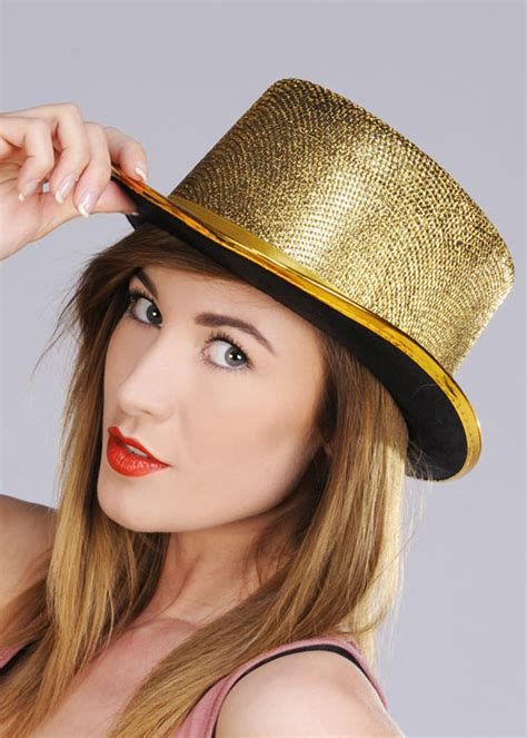 womens gold sparkle top hat