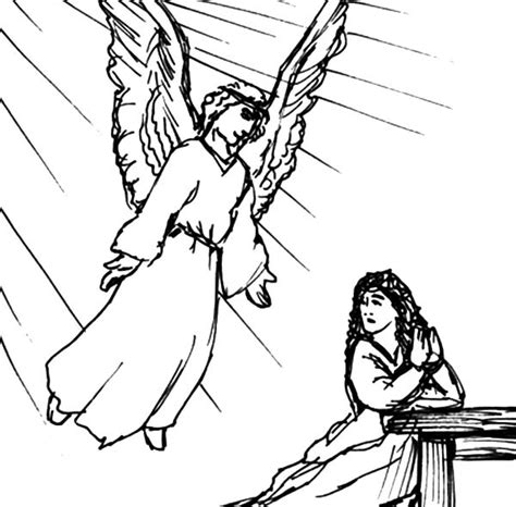 how to draw an angel appears to mary coloring pages bulk